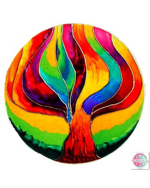 """Mandala na szkle """"Drzewo Przemiany"""""""