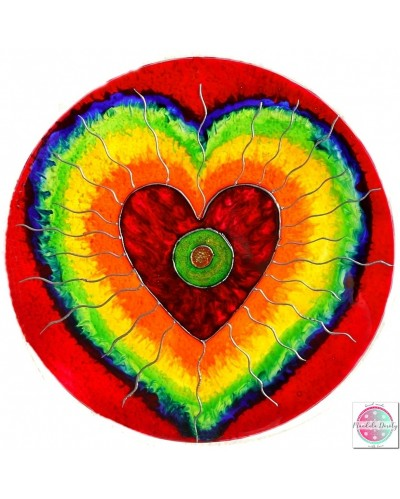 "Mandala on glass ""Heart space"""