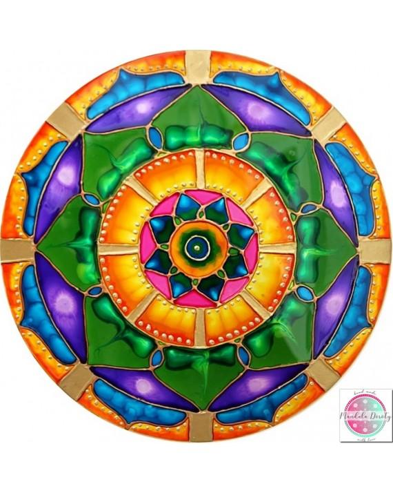 "Mandala on glass ""Green Lotus - I heal MySelf"""