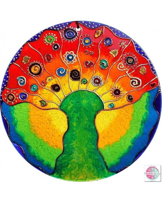 """Mandala na szkle """"Drzewo Słońca - bogactwo"""""""