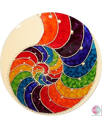 """Mandala na szkle """"Spirala złotego podziału"""""""