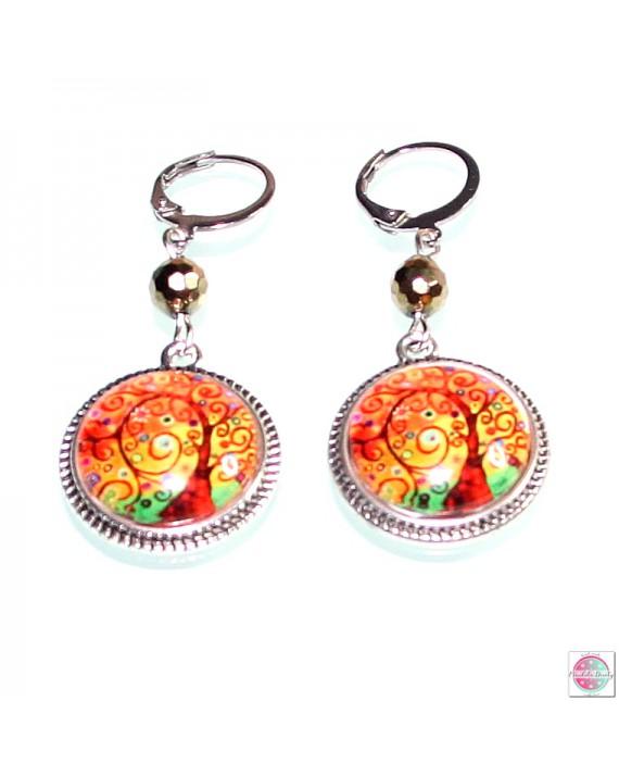 "Earrings with mandala ""Tree of Gratitude""."