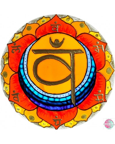"Mandala on glass ""Second Chakra"" Swadhisthana."