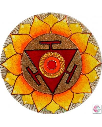 """Mandala na szkle """"Czakra Trzecia"""" Manipura."""
