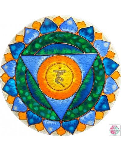 """Mandala on glass  """"Fifth Chakra"""" Wiszudha."""