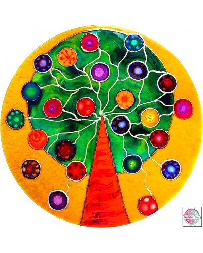 "Mandala on glass ""Tree of good wishes""."