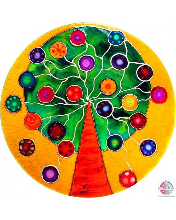 """Mandala na szkle """"Drzewo Dobrych Życzeń""""."""