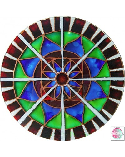 "Mandala on glass ""Radial Lotus"""