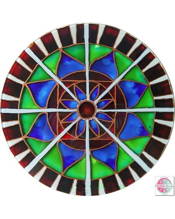 "Mandala on glass ""Radial Lotus"""