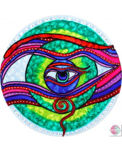 """Mandala on glass """"Eye of the self"""""""