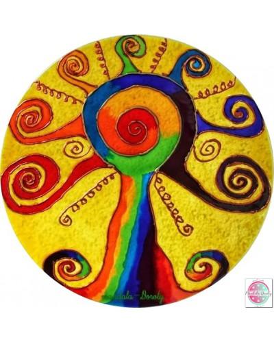 """Mandala on glass """"Children's energy tree"""""""