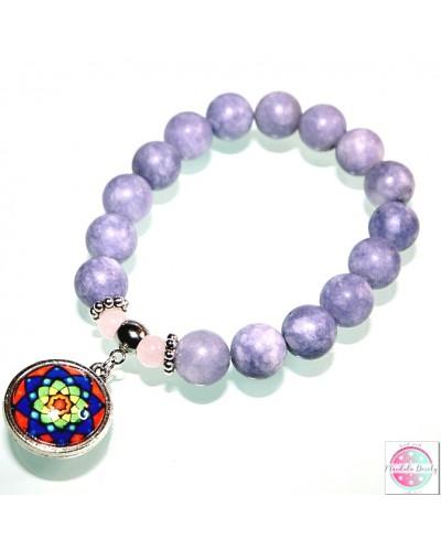 "Bracelet with mandala ""Rainbow Lotus"" aquamarine."