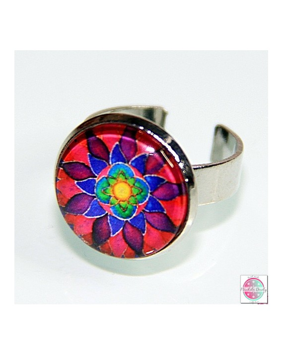 "Ring with mandala ""Flower of Femininity Magenta""."