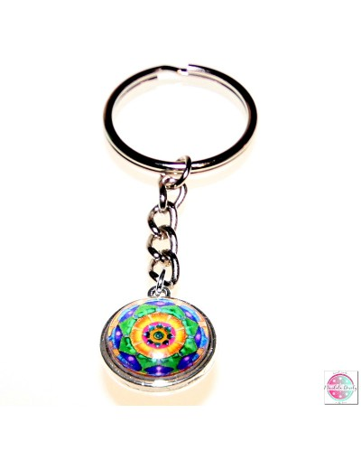 "Key ring with mandala ""Green Lotus - I heal MySelf""."
