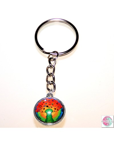 "Key ring with mandala ""Tree of the Sun - wealth""."
