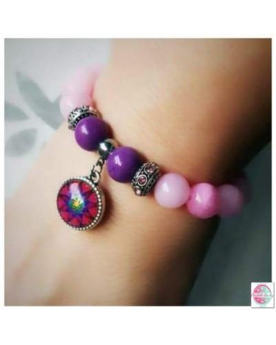 """Bracelet with mandala """"Flower of Femininity Magenta""""."""