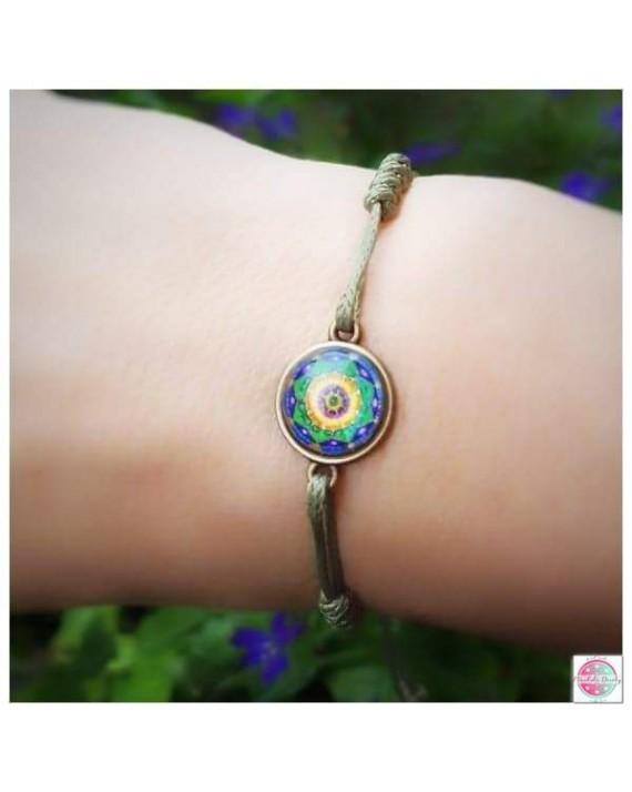 "Bracelet with mandala ""Green Lotus - I heal MySelf""."