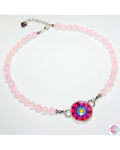 "Necklace with a mandala ""Flower of Femininity Magenta""."