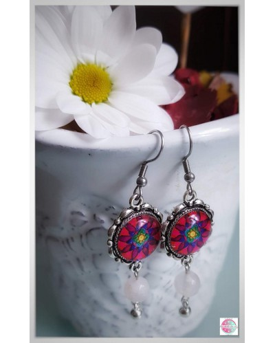 "Earrings with mandala ""Flower of Femininity - magenta"""