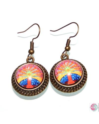 "Earrings with mandala ""Tree od Self Confidence""."