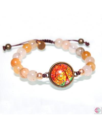 """Bracelet with mandala """"Tree of Gratitude"""" agate stone."""