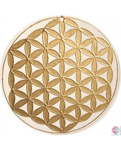 """Mandala on glass """"Flower of Life"""" gold."""