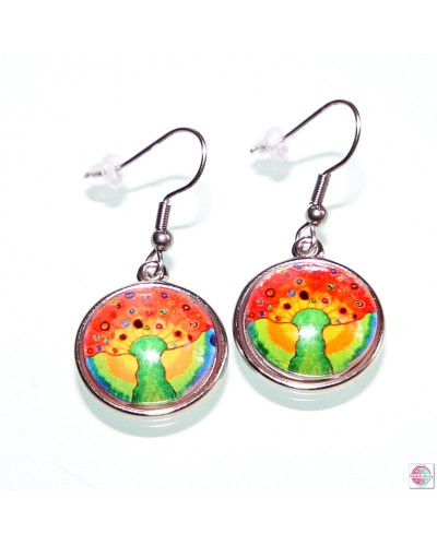"Earrings with mandala ""Tree of the Sun - wealth""."