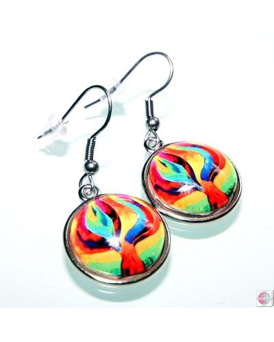 "Earrings with mandala ""Transformation Tree""."