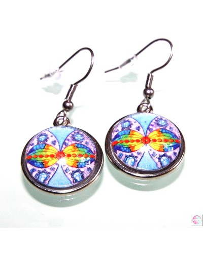 """Earrings with mandala """"Connection at infinity""""."""