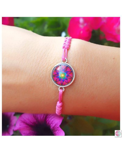 "Bracelet with mandala ""Flower of Femininity Magenta""."