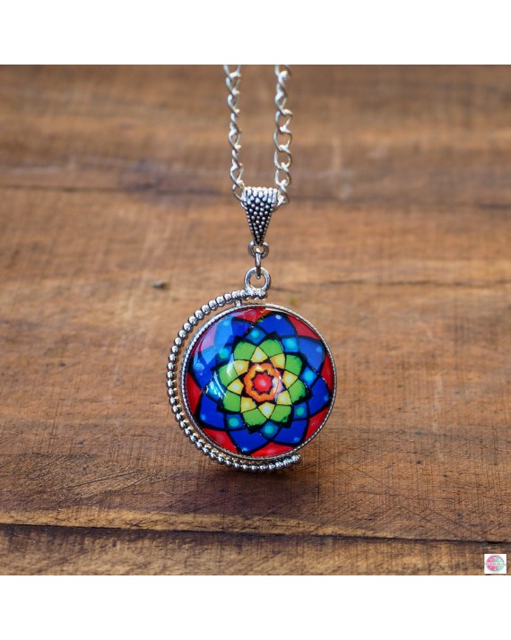 DUO medallion - two mandalas in one necklace.