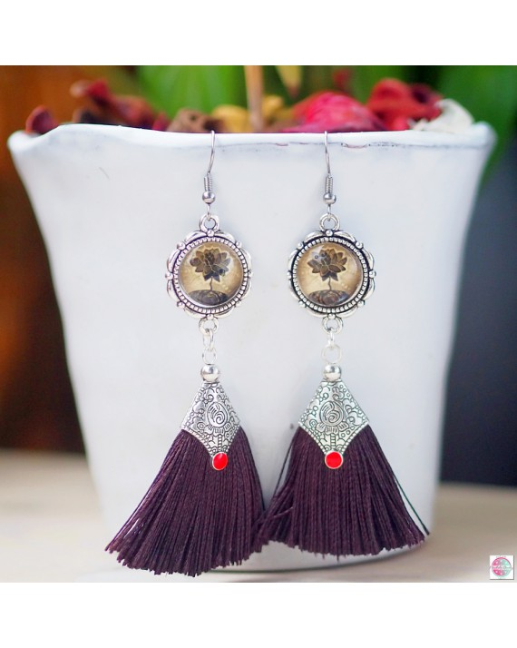 "Earrings with mandala ""Lotos blooms""."
