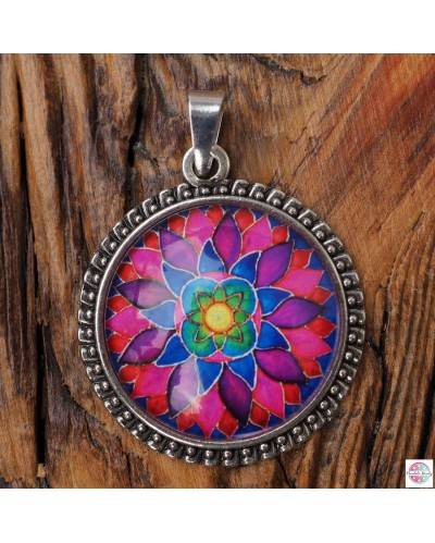 "Pendant with mandala ""Flower of femininity Magenta."""
