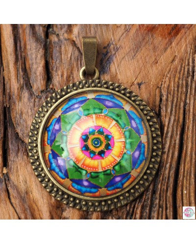 "Pendant with mandala ""Green Lotus - I heal MySelf""."