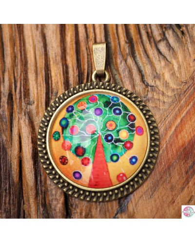 "Pendant with mandala ""Tree of Good Wishes""."