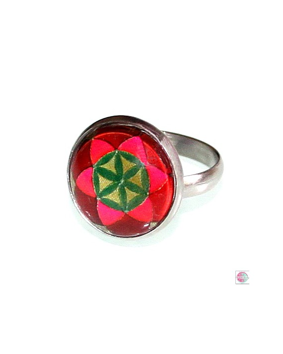"""Ring with mandala """"Seed of Life""""."""