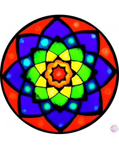 "Mandala on glass ""Rainbow Lotos"""
