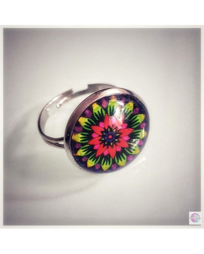 "Ring with mandala ""Rainbow Lotus""."
