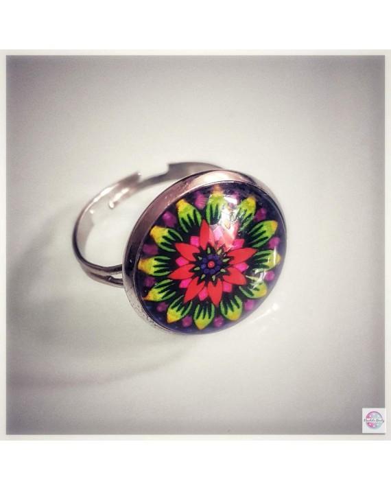 "Ring with mandala ""Rainbow Lotus""."