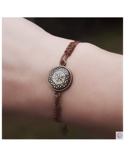 "Bracelet with ""Flower Of Life"" mandala brown."
