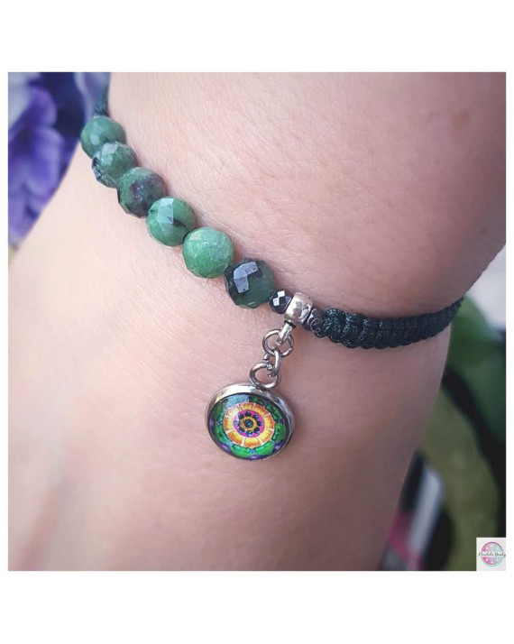 "Bracelet SubtElle with ""Green Lotus Heal Myself"" mandala zoisyt."