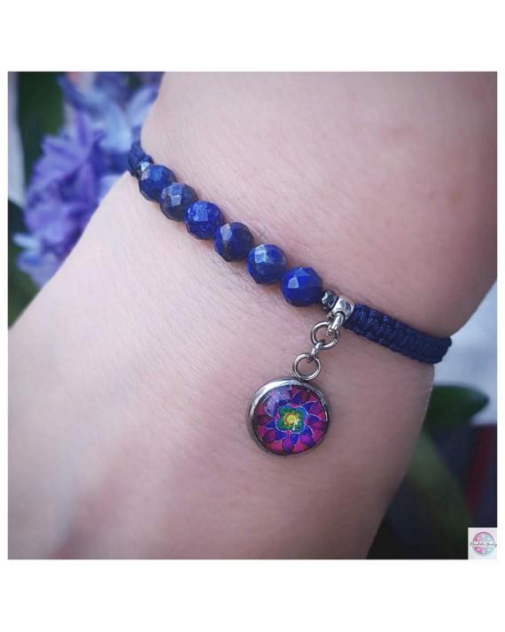 """Bracelet SubtElle with the mandala """"Flower of Feminity Magenta"""" - lapis lazuli."""