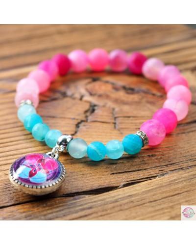 "Bracelet with mandala ""Lotus flower - Love & Wisdom"" Cat eye stone."