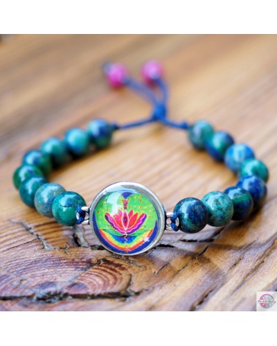 """Bracelet with mandala """"Yoni"""" african turquoise."""