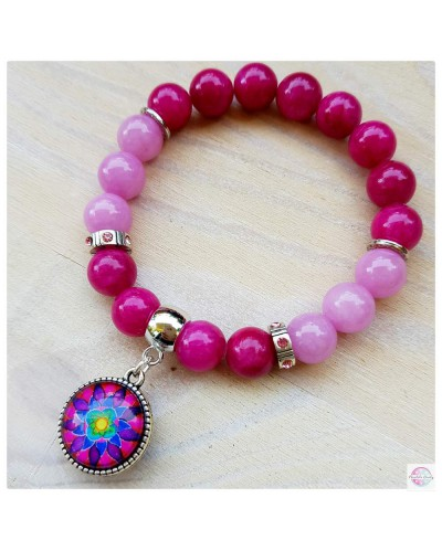 "Bracelet with mandala ""Flower of Femininity Magenta"""