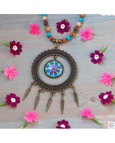 Neckles BOHO style with two mandalas.