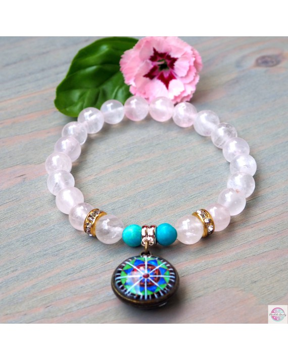 "Bracelet with mandala ""Radiant Lotus"" pink quartz."