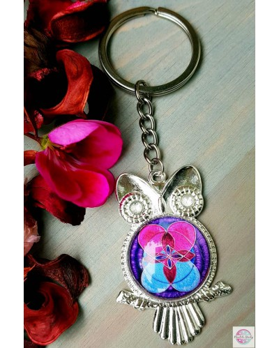 """Keyring with a mandala """"Flower of Life Love and Wisdom"""""""