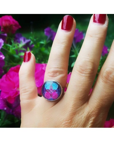 """Ring with mandala """"Flower of Life - Love and Wisdom""""."""