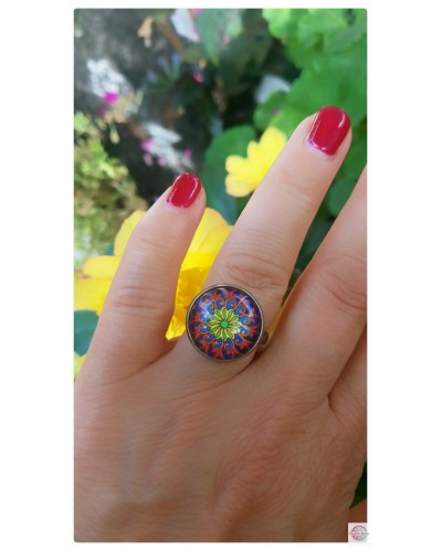 """Silver Plated Ring with Mandala Wave-Fractals """"."""